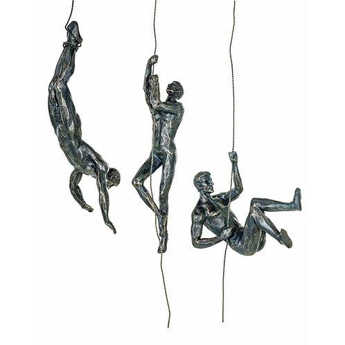 Set of 3 Bronze Abseiling Men Wall Figurines