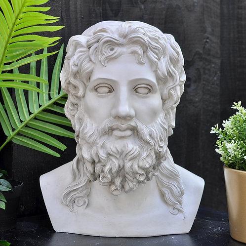 Large Stone Effect Zeus Bust