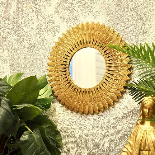 Gold Feather Trim Mirror