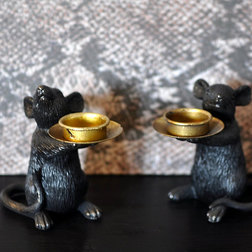 Pair of Black Mouse Tea Light Candle Holders
