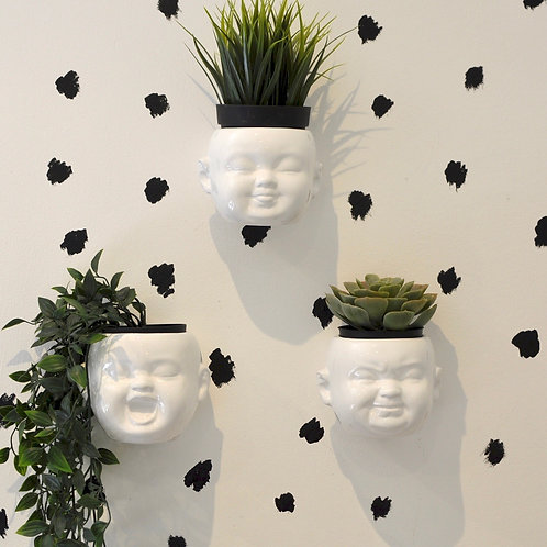 Quirky Set of 3 Baby Head Ceramic White Plant Pots