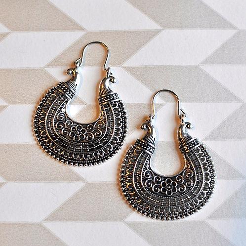 Silver Brass Hoop Earrings