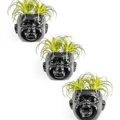 Quirky Set of 3 Baby Head Ceramic Black Plant Pots