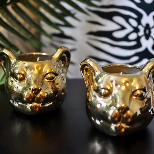 Pomegranate Scented Leopard Candle Pot