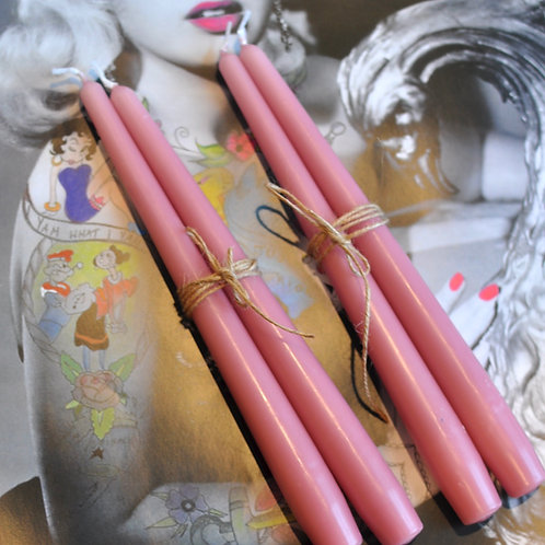 Set of 4 Rose Pink Tapered Candle