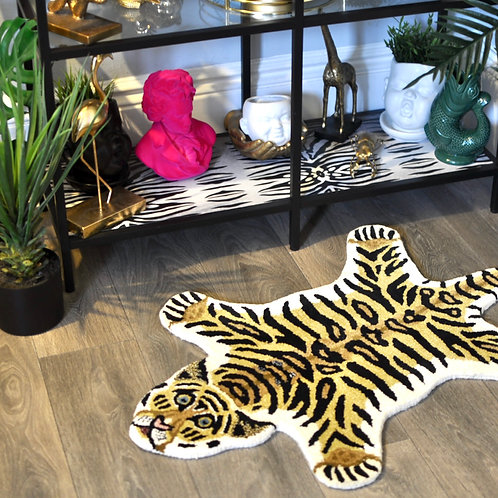 Small Hand Tufted Woollen Tiger Rug