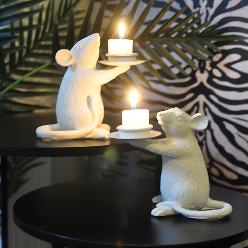 White Mouse Candle Holders