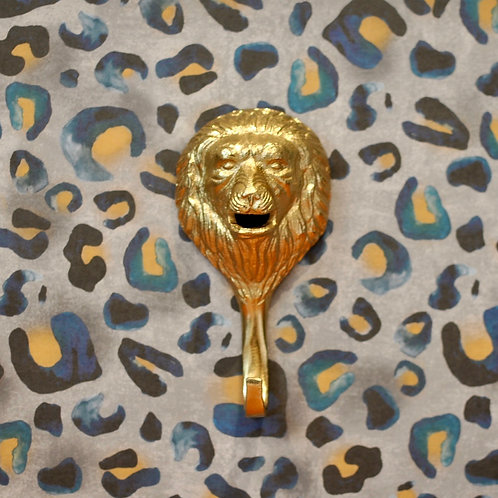 Large Bright Gold Lion Animal Wall Hook