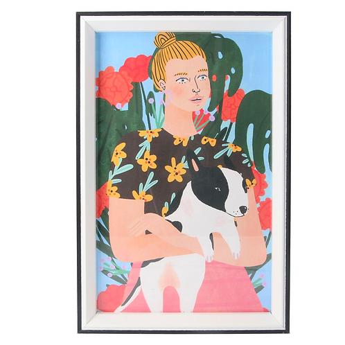 Large Girl with Dog Framed Block Print