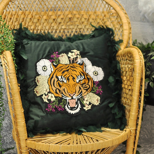 Quirky Green Velvet Floral Tiger Cushion