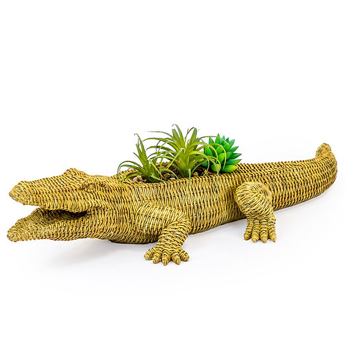 Wicker Effect Crocodile Planter
