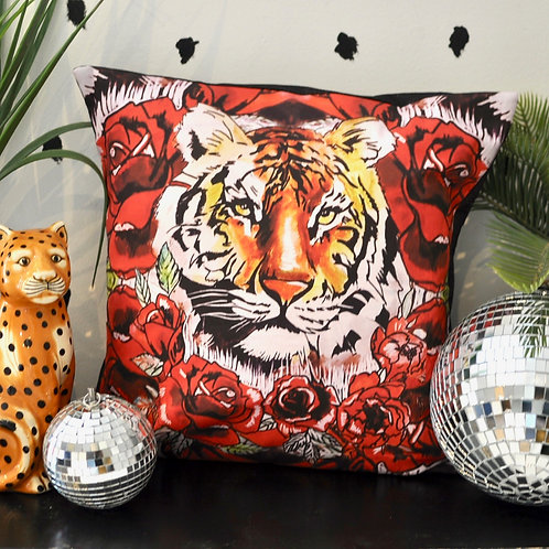 Luxury Handmade Tiger Rose Statement Cushion