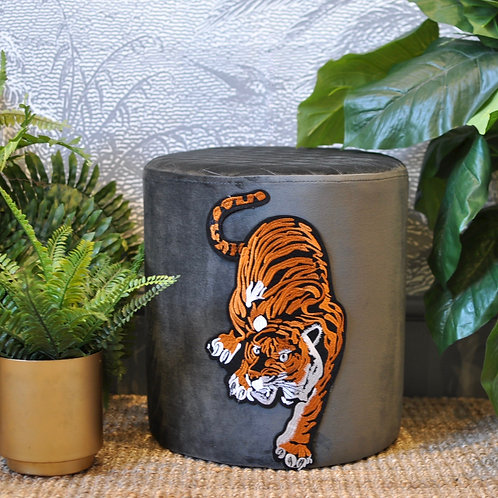 Grey Velvet Pouffe with Tiger Design Front