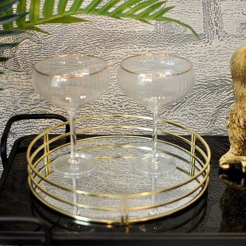 Round Gold Mirror Decorative Tray
