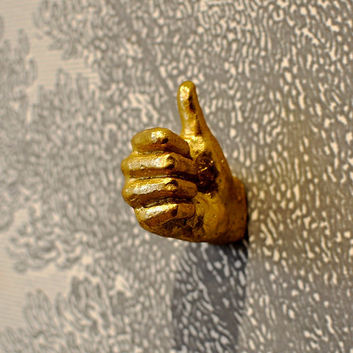Gold Resin Wall Mounted Thumbs Up Hand