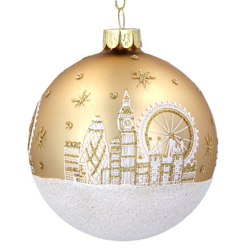 Gold Glass London Scene Christmas Tree Bauble