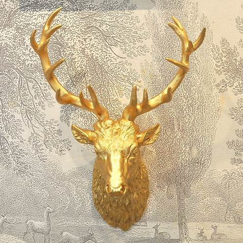 Large Gold Rutting Stag Head Wall Mount