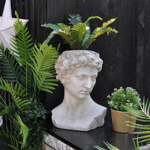 Large Stone Effect David Bust Planter