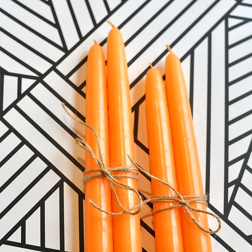 Set of 4 Orange Tapered Candles