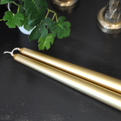 Pair of Metallic Gold Tapered Dinner Candle Sticks
