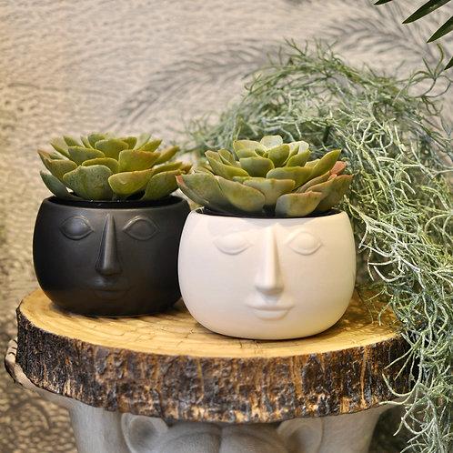 Small Monochrome Pagan Man Plant Pot