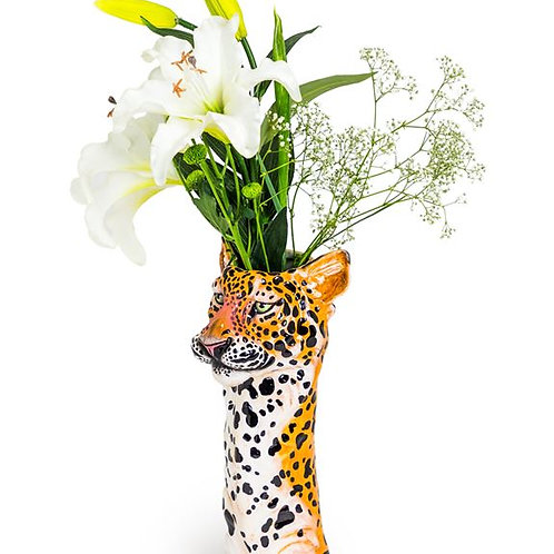 Large Quirky Ceramic Leopard Head Vase
