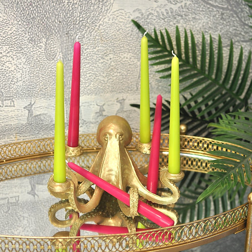Set of Lime & Fuchsia Tapered Dinner Candles