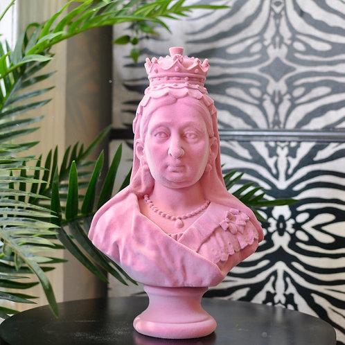 Pink Flock Queen Victoria Bust