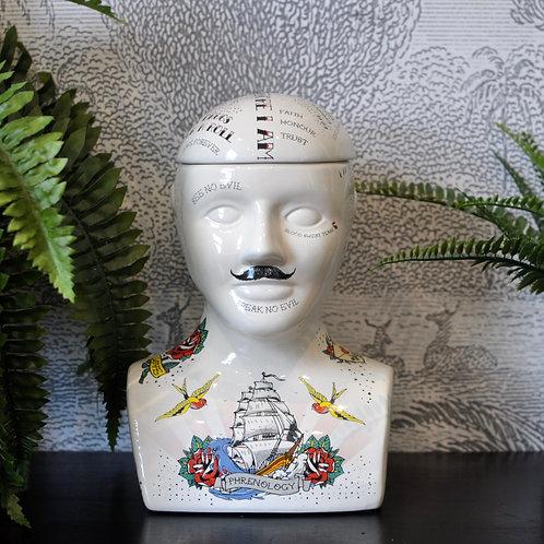 Large Ceramic Tattoo Phrenology Head Storage Jar