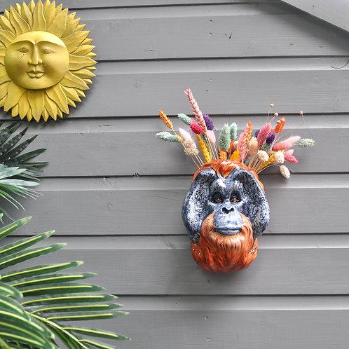Ceramic Orangutan Wall Vase