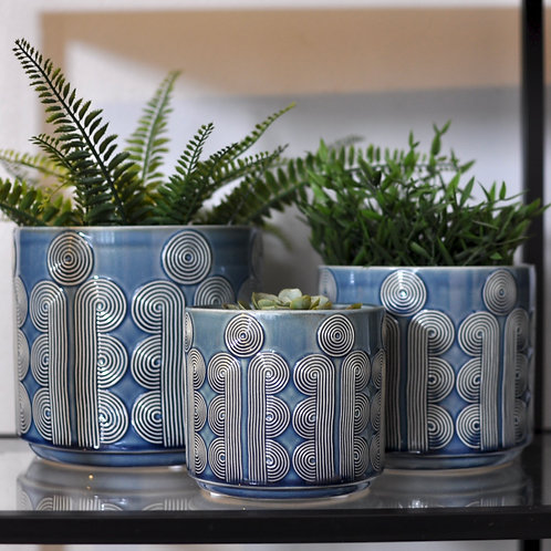 Navy Retro Circles Ceramic Pot Covers