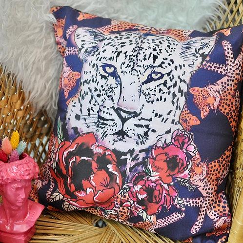 Luxury Handmade White Leopard Rose Statement Cushion