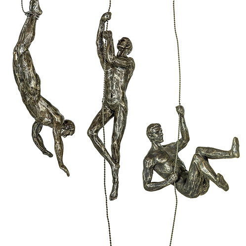 Set of 3 Antique Abseiling Men Wall Figures