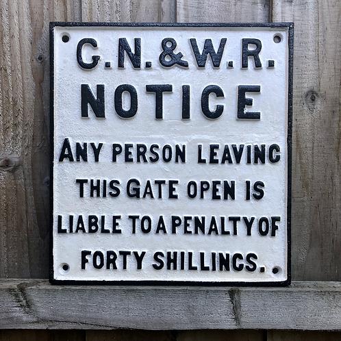 Antiqued G.N.&W. Railway Sign