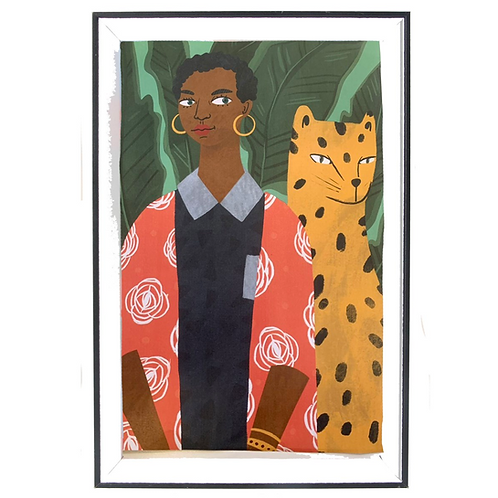 Large Girl with Leopard Framed Block Print