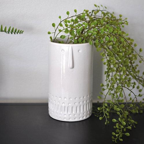 White Earthenware Cylinder Face Vase