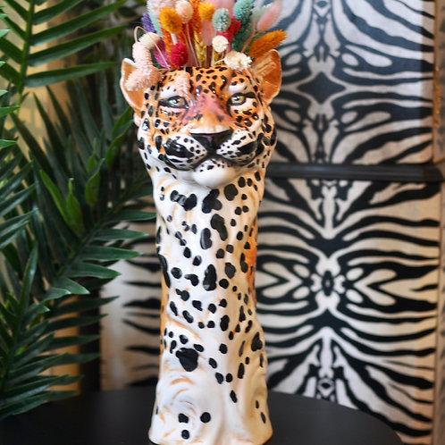 Large Quirky Ceramic Leopard Vase