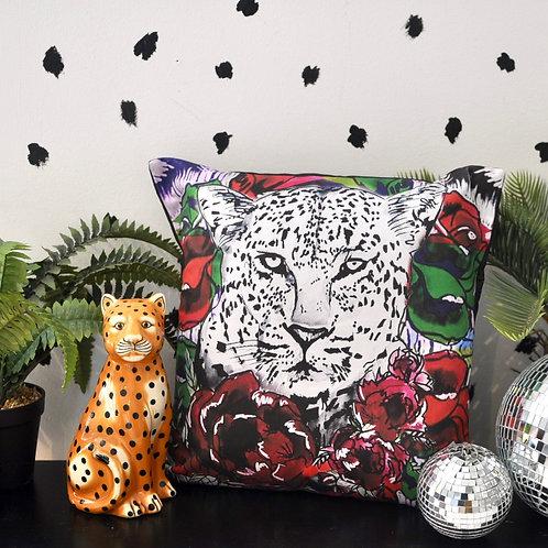 Luxury Handmade Leopard Rose Statement Cushion
