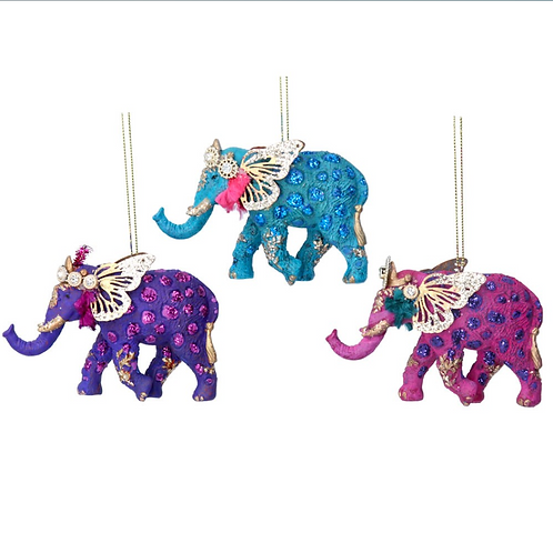 Fantasy Animal Glitter Elephant Tree Decoration
