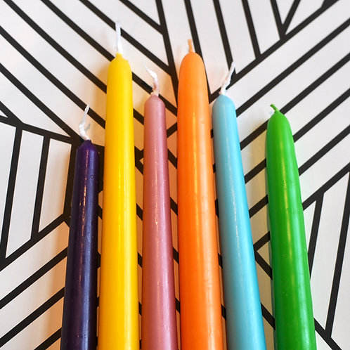Set of 6 Colourful Tapered Candles