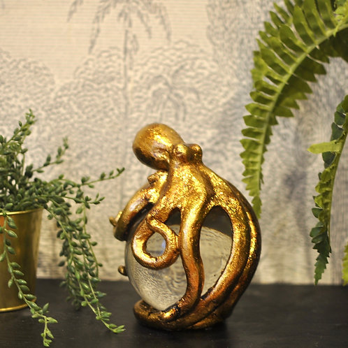 Quirky Gold Octopus Crystal Ball Ornament