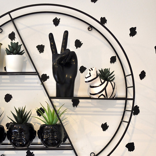 Peace Hand Sign in Gloss Black