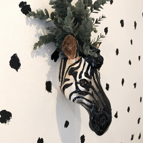 Quirky Zebra Head Wall Mounted Vase