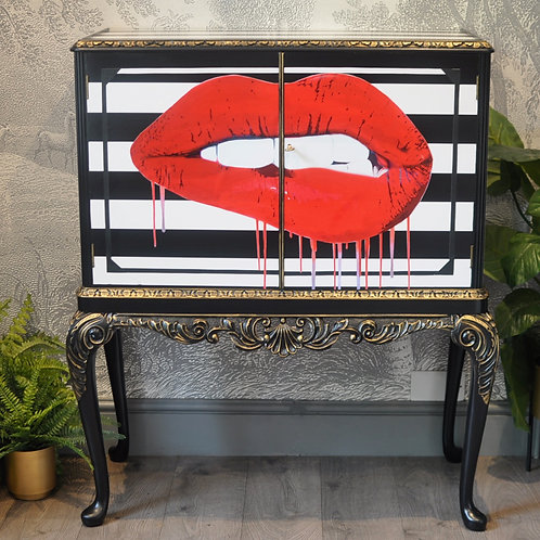 Upcycled Vintage Cocktail Cabinet Red Lips Decoupage