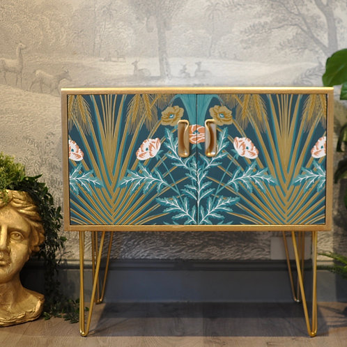 Upcycled Vintage G Plan Drinks Cabinet Cole and Son Bluebell