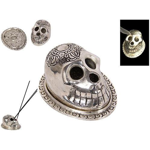 Silver Skull Incense Burner