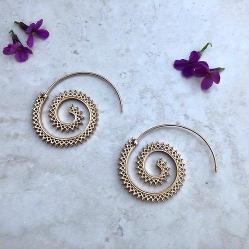 Gold Tone Spiral Earrings