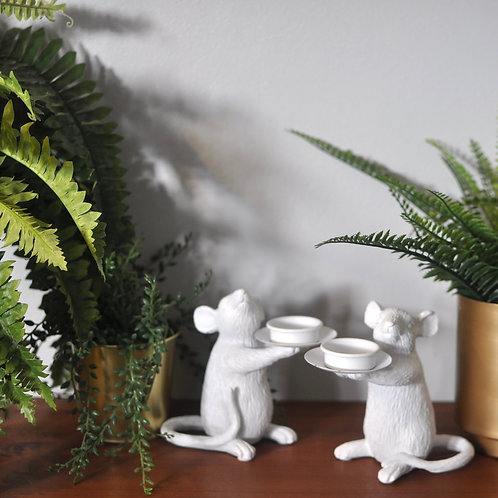 White Mouse Candle Holders, Tea Light Holder