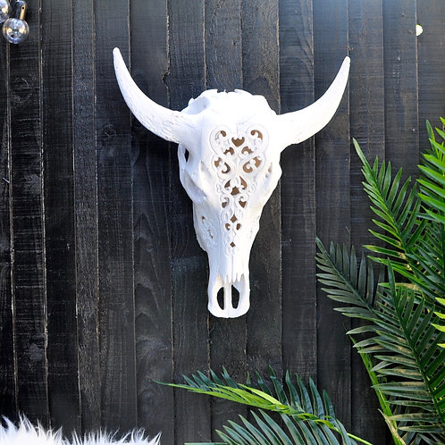 Large Faux Carved Bison Skull Wall Head