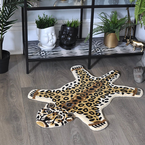 Fabulous Hand Tufted Small Woollen Leopard Rug